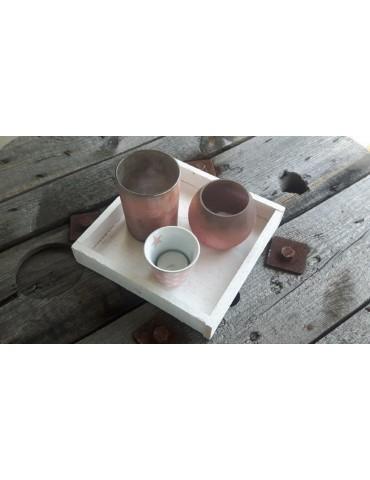 Dekobrett Holzbrett Brett für Teelichter weiß...