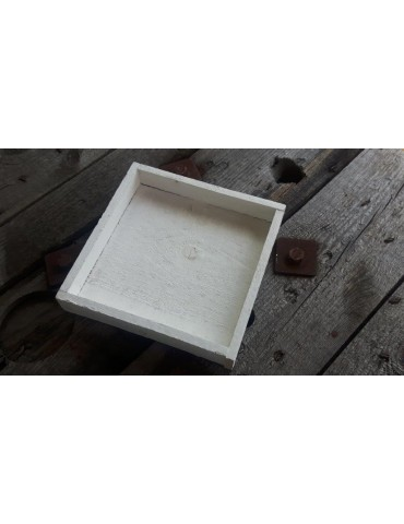 Dekobrett Holzbrett Brett für Teelichter weiß Holz Eckig 20 x 20 x 3,5 cm 13648