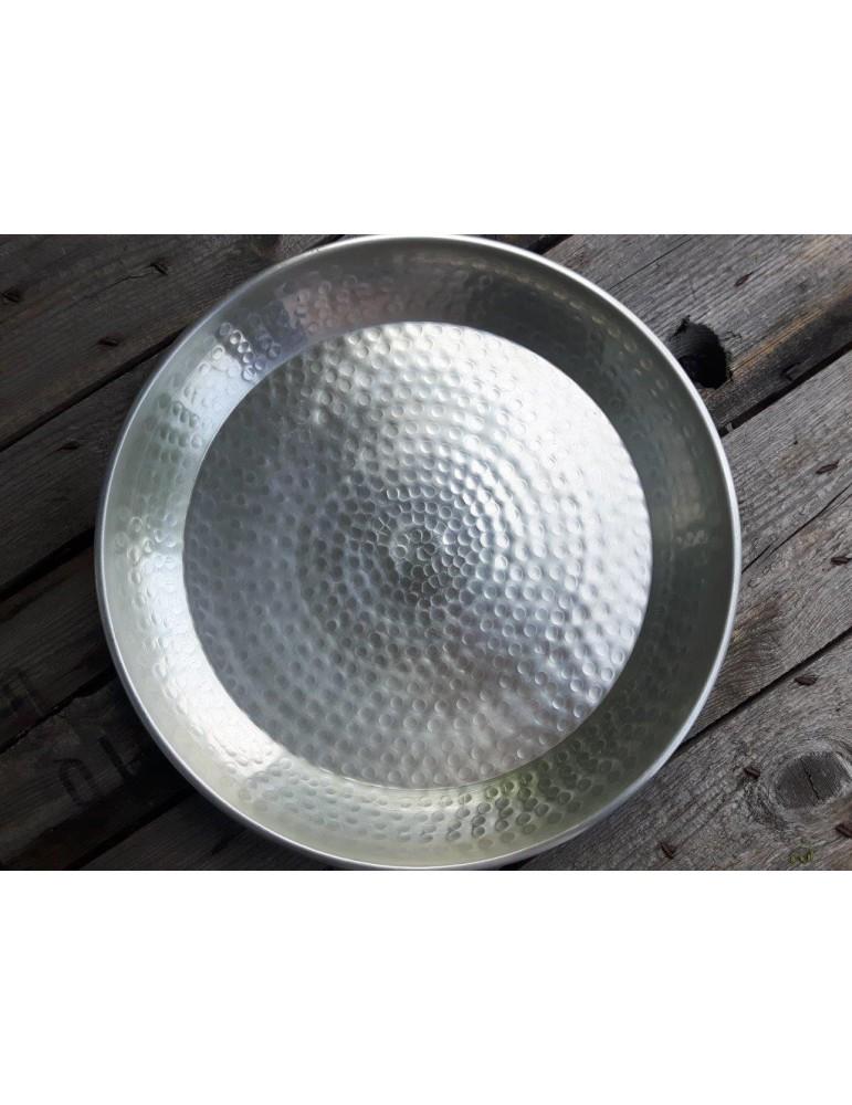 Dekottablett Metall Tablett Teelichter silber rund gehämmert 12801