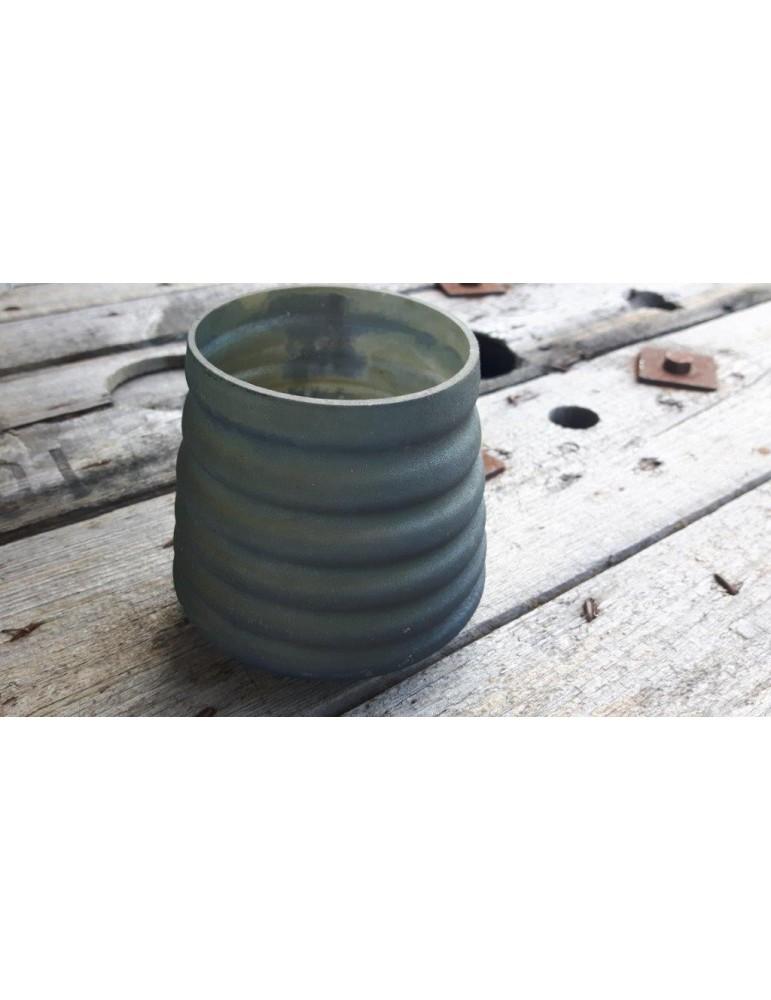 Teelicht Teelichtglas Kerzenständer Glas blau grau matt Rillen 13646