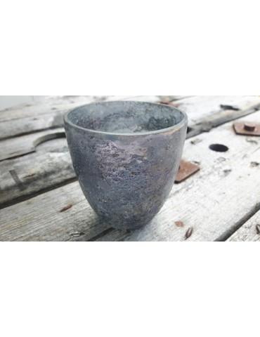 Teelicht Teelichtglas Kerzenständer Glas blau grau groß Schimmer 22391