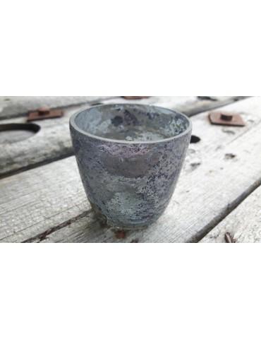 Teelicht Teelichtglas Kerzenständer Glas blau grau klein Schimmer 12390