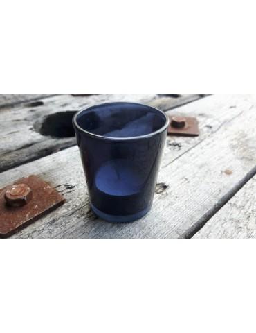 Teelicht Teelichtglas Kerzenständer Glas dunkelblau blau durchsichtig
