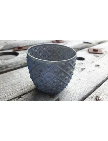 Teelicht Teelichtglas Kerzenständer Glas bleu gold matt Schimmer 13644