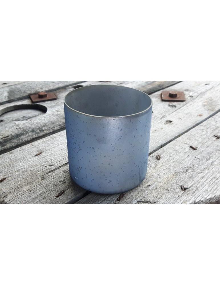 Teelicht Teelichtglas Kerzenständer Glas bleu blau matt Vintage 13645