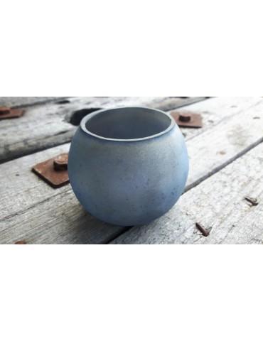 Teelicht Teelichtglas Kerzenständer Glas bleu blau matt bauchig 1364