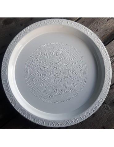 Dekottablett Metall Tablett Teelichter weiß rund 500658