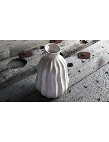 Vase Blumenvase Keramik Porzellan creme Rillen 5907026