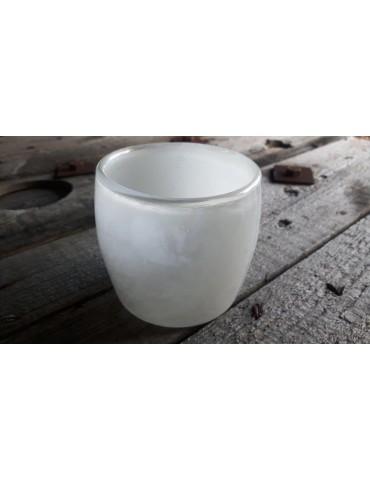 Teelicht Teelichtglas Kerzenständer Glas weiß creme 12393