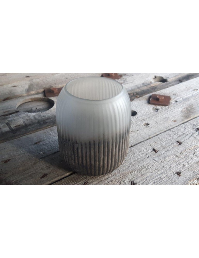 Teelicht Teelichtglas Kerze Glas hellgrau grau gold 11463