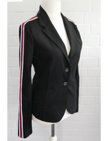 Esvivid Bequemer Sportlicher Jersey Blazer Business tailliert schwarz rot weiß Streifen