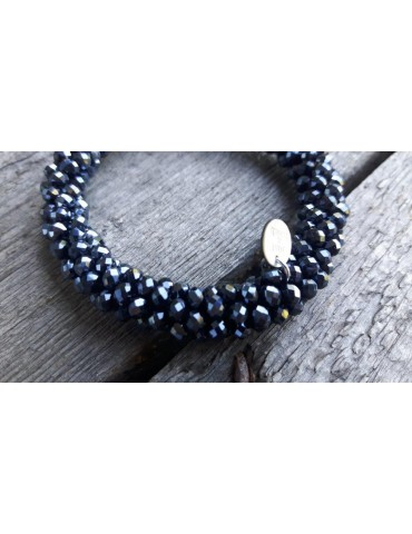 Armband Kristallarmband Perlen dick dunkelblau blau Glanz Schimmer elastisch