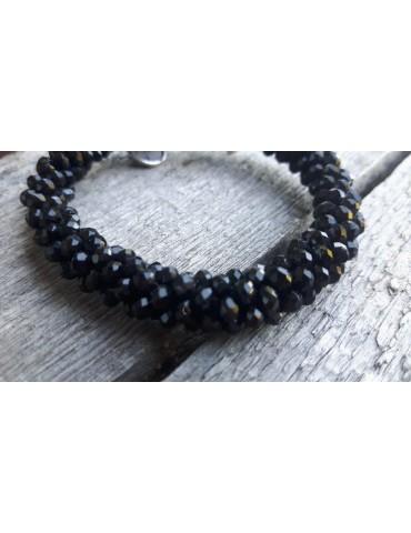 Armband Kristallarmband Perlen dick schwarz black Glanz Schimmer elastisch CYA3026