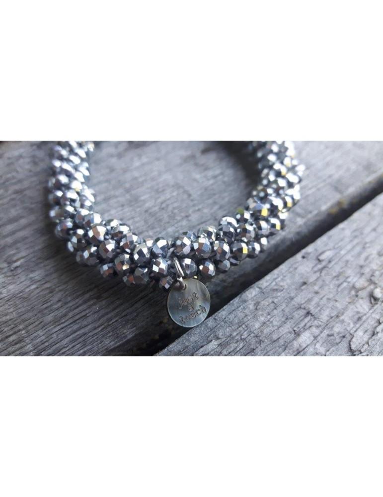 Armband Kristallarmband Perlen dick silber grau Glanz Schimmer elastisch 9082700