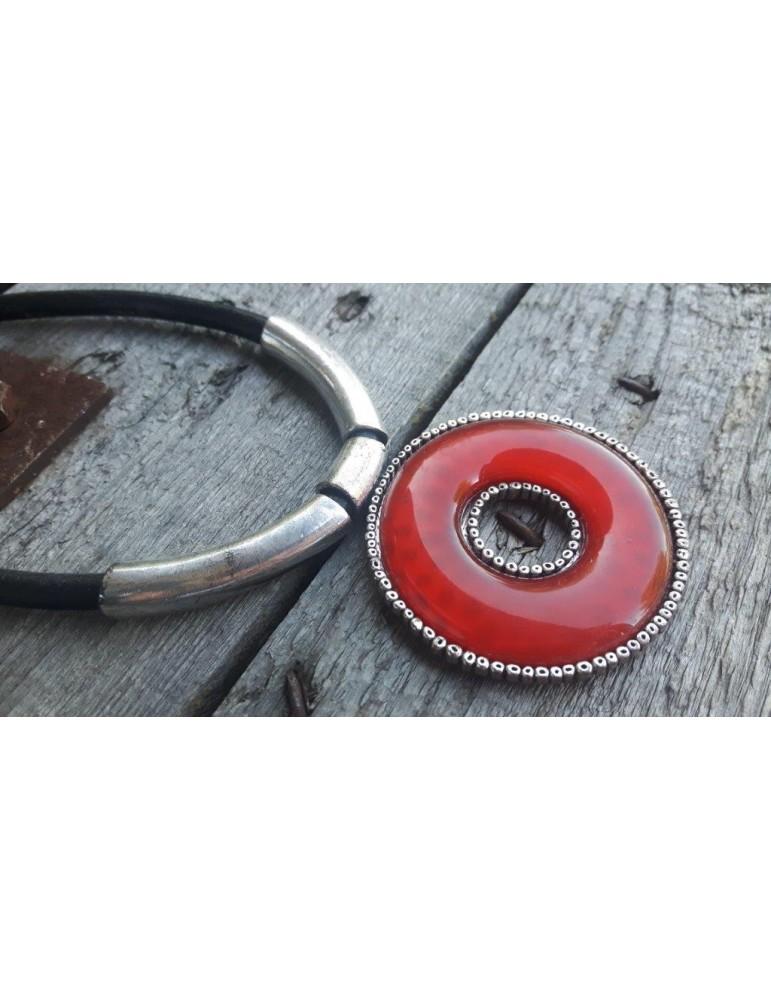 A-Zone Damen Kette Halskette rot schwarz altsilber rund 240013 9940