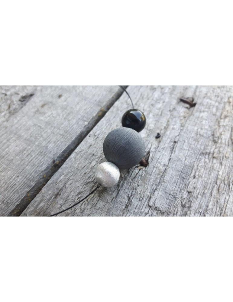 Culture Mix Modeschmuck Damen Kette Halskette schwarz grau silber 6438