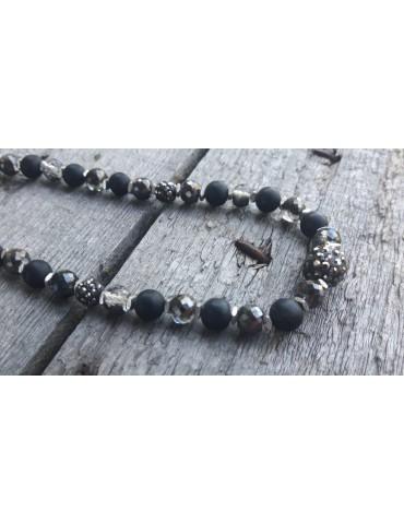 Giuno Damen Modeschmuck Kette Halskette schwarz taupe KB1466