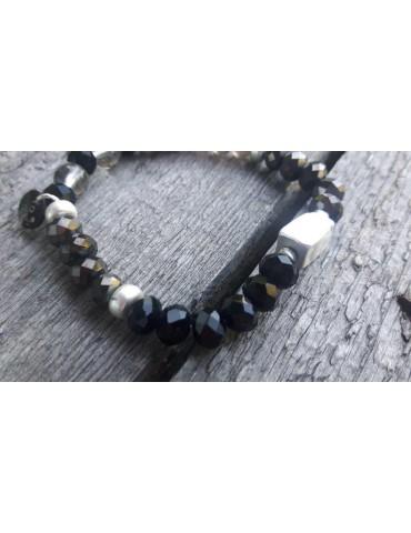 Armband Kristallarmband Perlen silber grau schwarz Strass Glanz elastisch AB1545