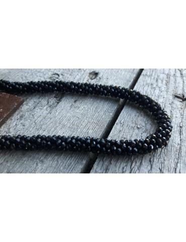 Bijoux Damen Modeschmuck Kette Halskette Kristall schwarz Glanz