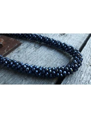 Bijoux Damen Modeschmuck Kette Halskette Kristall blau bleu Glanz 9082802