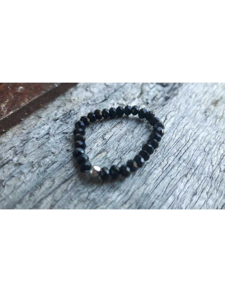 Bijoux Modeschmuck Ring Damenring Kristall schwarz black
