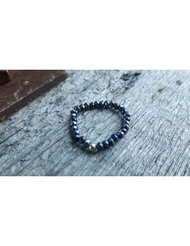 Bijoux Modeschmuck Ring Damenring Kristall blau Schimmer