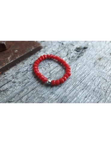 Bijoux Modeschmuck Ring Damenring Kristall rot red Schimmer elastisch