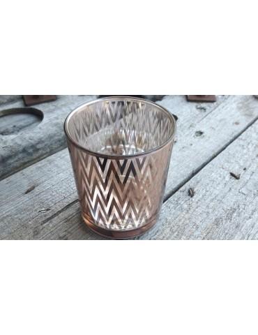 Teelicht Teelichtglas Kerzenständer Glas lachs Zick Zack 090194