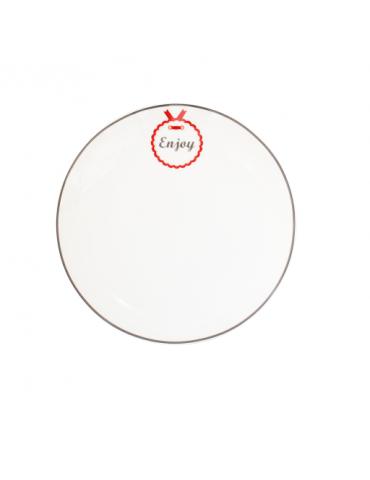 "Krasilnikoff Porzellan Dessert Teller Plate weiß grau rot ""Enjoy"" Danish Design"