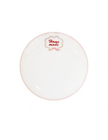 "Krasilnikoff Porzellan Dessert Teller Plate weiß rose rot ""Home Made"" Danish Design"