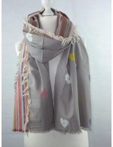 XXL Schal Tuch Tischdecke bunt Herzen Baumwolle Ibiza Style