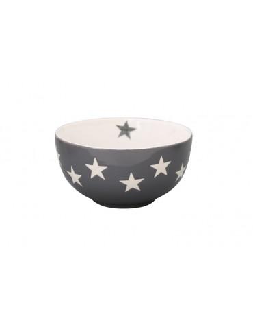 Krasilnikoff Keramik Müslischale Schale Bowl Schüssel hellgrau weiß Sterne