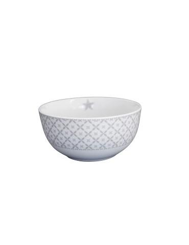 Krasilnikoff Porzellan Müslischale Happy Bowl weiß hellgrau grau Diagonal HB180