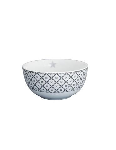Krasilnikoff Porzellan Müslischale Happy Bowl weiß grau grau Diagonal HB181