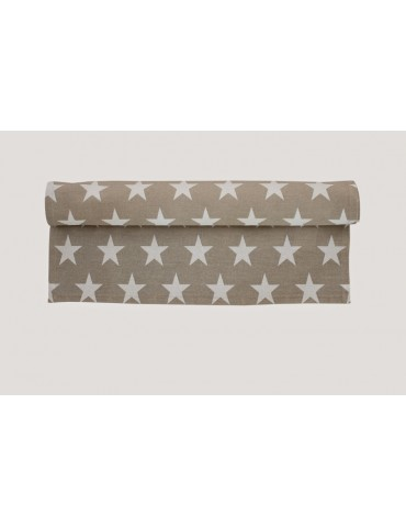 Krasilnikoff Tischläufer Tischdecke Decke taupe weiß Sterne Baumwolle 50 x 160 cm