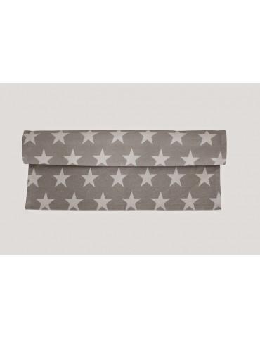 Krasilnikoff Tischläufer Tischdecke Decke hellgrau weiß Sterne Baumwolle 50 x 160 cm