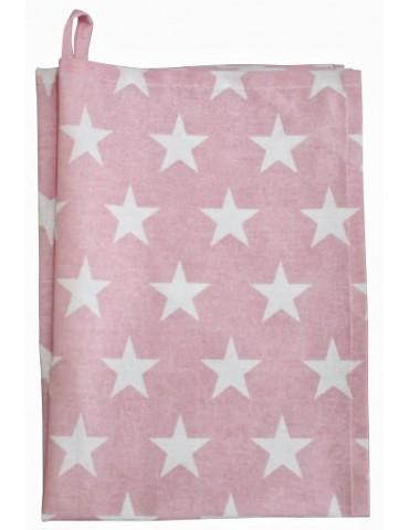 Krasilnikoff Geschirrtuch Trockentuch rose rosa weiß Sterne 50 x 70 cm Baumwolle