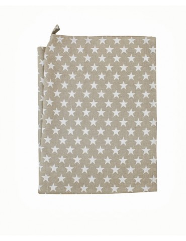 Krasilnikoff Geschirrtuch Trockentuch taupe weiß Sterne 50 x 70 cm Baumwolle