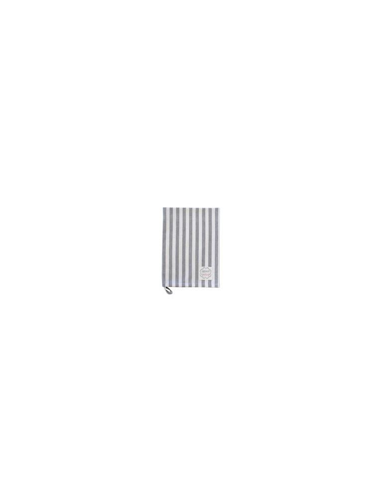 coKrasilnikoff Geschirrtuch Trockentuch grau weiß Streifen 50 x 70 cm Baumwolle