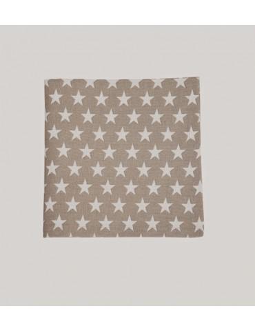 Krasilnikoff Stoff Serviette Deckchen taupe weiß Sterne Baumwolle 40 x 40 cm
