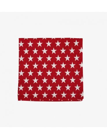 Krasilnikoff Stoff Serviette Deckchen rot weiß Sterne Baumwolle 40 x 40 cm