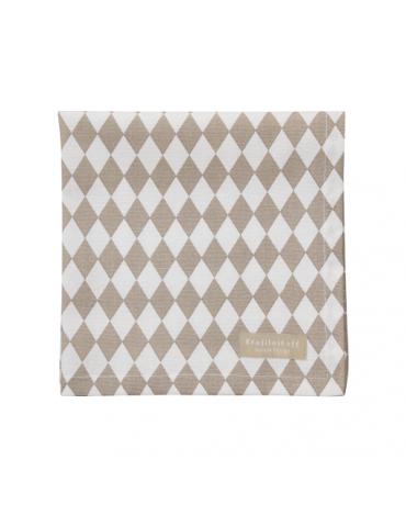 Krasilnikoff Stoff Serviette Deckchen taupe weiß Rauten Baumwolle 40 x 40 cm