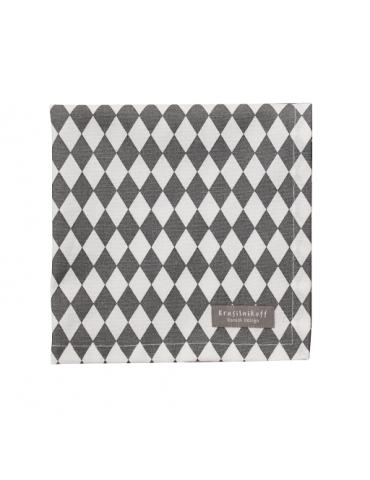 Krasilnikoff Stoff Serviette Deckchen grau weiß Rauten Baumwolle 40 x 40 cm