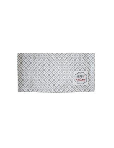 Krasilnikoff Stoff Serviette Deckchen hellgrau weiß Diagonale Baumwolle 40 x 40 cm