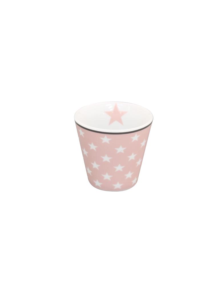 Krasilnikoff Porzellan Espressotasse Tasse Teelicht Muffin Form rose weiß Sterne
