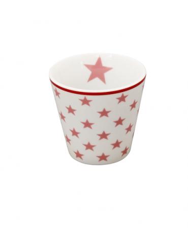 Krasilnikoff Porzellan Espressotasse Tasse Teelicht Muffin Form weiß rose Sterne