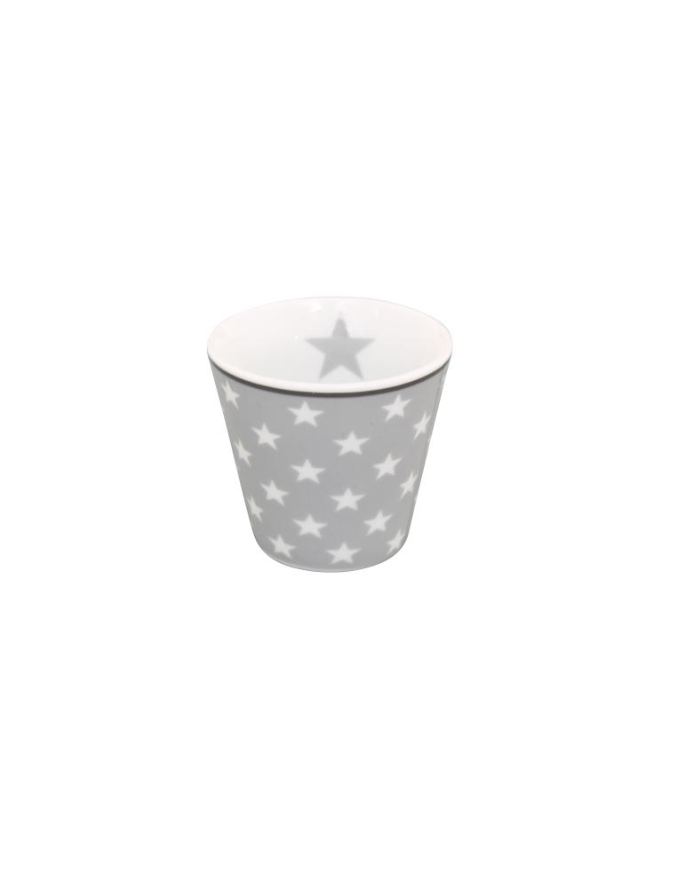 Krasilnikoff Porzellan Espressotasse Tasse Teelicht Muffin Form hellgrau weiß Sterne