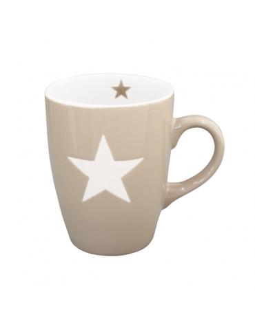 Krasilnikoff Keramik Kaffeetasse Tasse Becher Mug taupe weiß Stern