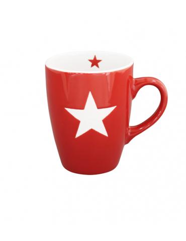 Krasilnikoff Keramik Kaffeetasse Tasse Becher Mug rot weiß Stern