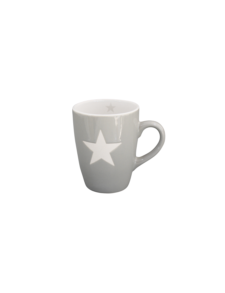 Krasilnikoff Keramik Kaffeetasse Tasse Becher Mug hellgrau weiß Stern
